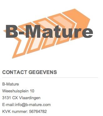 B-Mature logo en contactgegevens